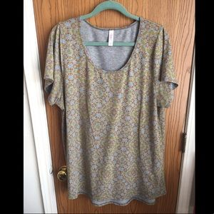 Lularoe Perfect T Tunic 2XL Gray Geometric Pattern